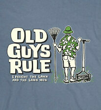 OLD GUYS RULE I FOUGHT THE LAWN AND THE LAWN WON LAKE BLUE TEE SHIRT