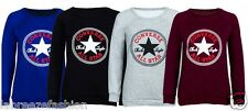 New Ladies Womens Converse Logo Print Sweatshirt Top Sweater Casual SIZE SM ML