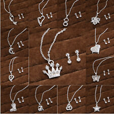 New Wedding Bridal Silver Plated Jewelry Crystal Rhinestone Earring Necklace Set