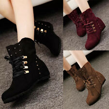 Womens Hidden Wedge Heel Faux Suede Lace Up Studded Cowboy Casual Mid Calf Boots