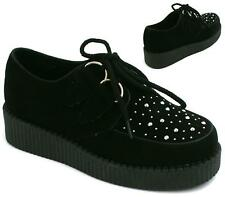 CHILDREN FLAT FUNKY LACE UP STUD PLATFORM WEDGE HEEL GOTH BROTHEL CREEPERS SHOES