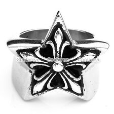1x Stainless Steel Fleur-De-Lis Star Pentagram Ring Gift Men Biker Womens US9-13