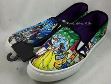 Disney Beauty & The Beast Stained Glass Slip-On Womens Sneakers Shoes Flats S-L