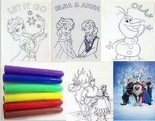 Disneys Frozen Anna Elsa Olaf Kristoff Sven Colour Me In Drawing Kids Poster Set