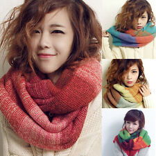 Women Winter Warm Infinity Cable Knit Cowl Neck Long Scarf Shawl multi-color