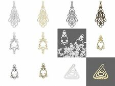 10 Silver Gold Rose Filigree Spade Teardrop Loops Earring Drop Charms You Pick
