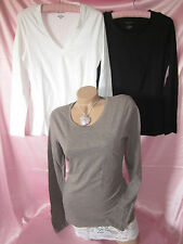 Banana Republic Cotton Spandex Stretch Tee T Shirt Blouse Top Black White Taupe