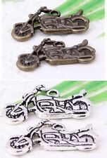 wholesale 17/58Pcs  Bronze、Silver Plated Motorcycle Charms 25x14mm (Lead-Free)