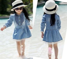 Girl Kids 2-8Y Blue Denim Lace Cowboy Long Sleeve Dress Clothes 2014 Sales Hot