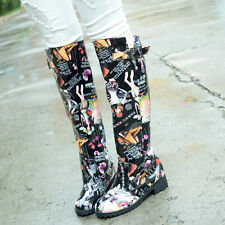 Fashion Womens Shoes Chunky Low Heels Buckle Pull on Knee High Riding Rain Boots