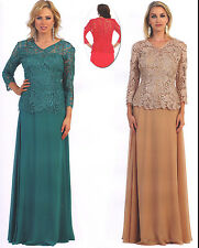 5 COLORS FORMAL OCCASION LOVELY MOTHER OF BRIDE / GROOM DRESS EVENING  M - 5XL