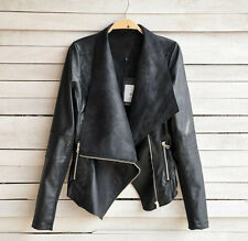 Fashion Vintage Womens Slim Biker Motorcycle Leather Zipper Jacket Coat