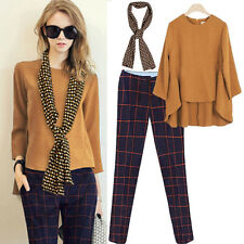 Women Scarf +Grid Pants Trousers + Loose Long Sleeve Suits Tops Blouse Sets