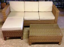 Outdoor Natural Rattan Weave Sofa Set Corner Group Garden Patio Furniture Rattan