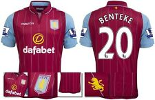 *14 / 15 - MACRON ; ASTON VILLA HOME SHIRT SS + PATCHES / BENTEKE 20 = SIZE*