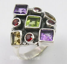 925 Silver Beautiful MULTISTONES Ring Any Size JEWELRY