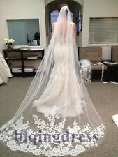 New Elegant 1T White Ivory Lace Edge Cathedral Length Wedding Bridal Veil Comb a