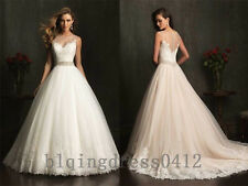 A-line white/ivory appliques wedding bridal dress custom size4 6 8 10 12 14 16++