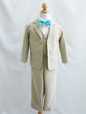 Boy Khaki/Taupe/Ivory with blue color bow tie formal suit wedding party all size