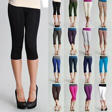 High Quality Seamless Basic Plain Solid Capri Leggings Thick Stretch ONE SIZE