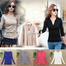 Womens Long Sleeve Bottoming Shirt Crew V-Neck Tops Blouse Casual Solid Plain