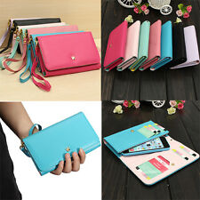 Premium Leather Wristlet Wallet Card Holder Cover Case For Samsung Galaxy Avant