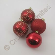 Christmas Tree shatterproof Baubles in Red Gold or Silver in 3 different sizes