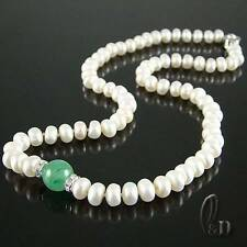 Chic White Genuine pearls&Green Natural Jade Necklace AU SELLER 010678