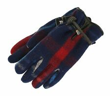 Ralph Lauren Polo Blue Plaid Wool Leather Insulated Winter Gloves New