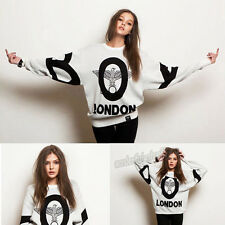 Fashion Girl Boy London Punk Eagle Print Loose Long-Sleeved Lover Fleece Sweater