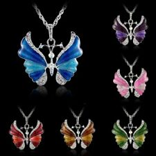 Womens Charms Silver Rhinestone Butterfly Necklace Crystal Pendants Chain Party