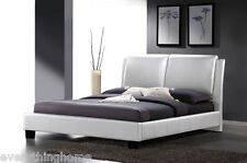 MODERN WHITE FAUX LEATHER UPHOLSTERED HEADBOARD QUEEN OR KING PLATFORM BED FRAME