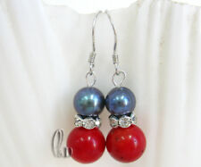Chic Black Genuine pearls&Red Natural Coral Silver Earrings AU SELLER e015-20
