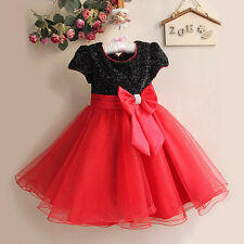 Christmas Girls Kids Princess Bridesmaid Wedding Party Bow Ball Gown Fancy Dress