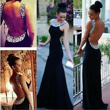Women Sleeveless Black Sequin Sexy Backless Formal Party Long Gown Maxi Dress