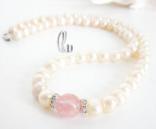Chic Pink Genuine pearls&Natural Watermelon Quartz Necklace AU SELLER n184-29