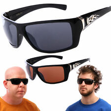 Chopper Sunglasses Motorcycle Riding Biker Shades with Metal Flame Detail