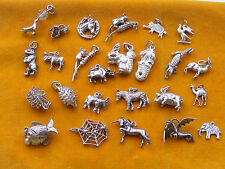 LL VINTAGE STERLING SILVER CHARM  - ANIMALS DONKEY UNICORN ZEBRA BEAR MOUSE PIG