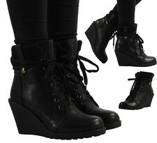 NEW WOMENS LADIES ANKLE LACE UP HI-TOP GRIP WEDGES SHOES BOOTS TRAINERS SIZE 3-8