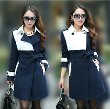 New Fashion Womens Belt Lapel Collar Wool Blended Warm Jacket Long Trench Coats