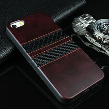 For iPhone 5S 5 Slim Fit PU Leather Hybrid TPU Carbon Fiber Strips Case Cover