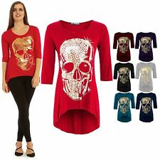 Womens Ladies 3/4 Sleeve Jersey Golden Skull Dip Hem High Low Long Top Plus Size