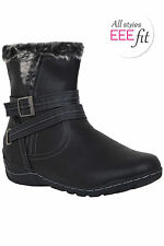 Plus Size Womens Ankle Boots With Fur Trim And Buckle Detail In Eee Fit