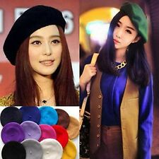 New Women's 100 Percent Wool Beret French Artist Beanie Hat Cap Mutiple Colors