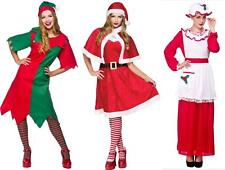 LADIES CHRISTMAS FANCY DRESS COSTUME SANTA CLAUS XMAS ELF WOMENS OUTFIT OS PS