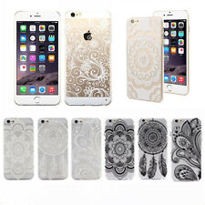 Henna White Floral Paisley Mandala Flower Clear Hard Case Cover For iPhone 4 5 6
