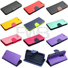 Deluxe Wallet Dual Color Leather Flip TPU Case Cover Stand for Various LG Phone