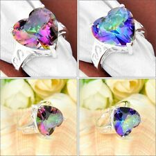 Dazzling! Natural Heart Mystic Rainbow Topaz Gems Silver Lady's Ring Size 7 8 9