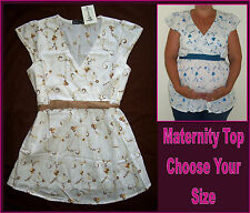 MATERNA-TEE  Maternity Top WHITE PATTERNED COTTON SHIRT Floral print - NEW