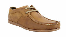 Mens IKON River Brown Leather Smart Formal Lace Up Moccasins Shoes Sizes 6 to 12